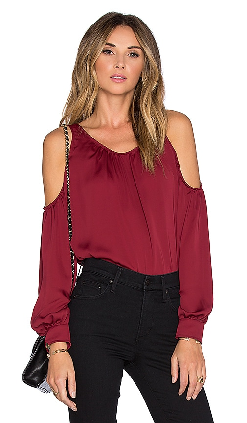 L'Academie x REVOLVE The Shoulder Blouse in Maroon
