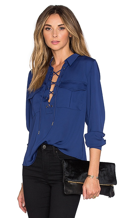 L'Academie x REVOLVE The Safari Blouse in Navy