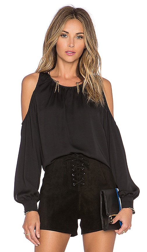 L'Academie The Shoulder Blouse in Black