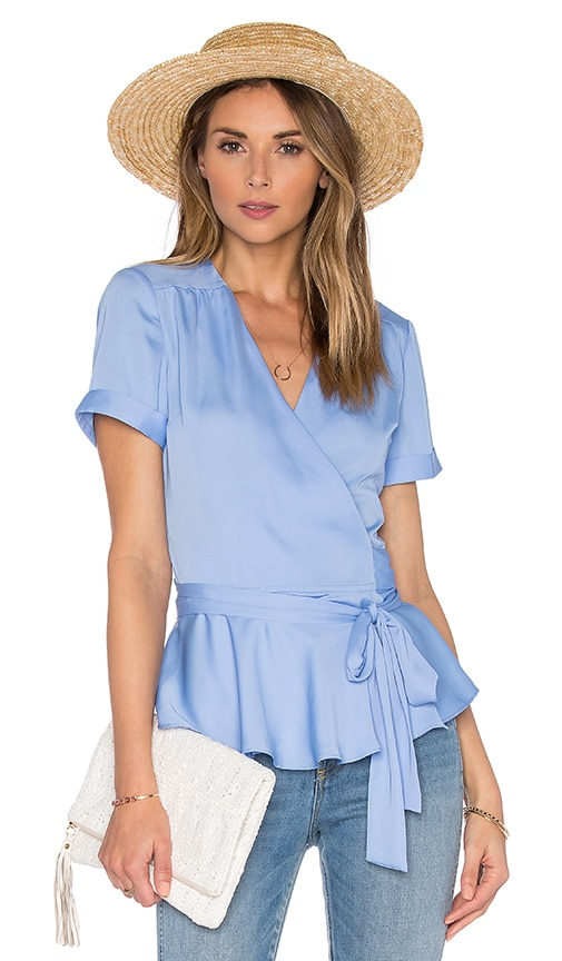 L'Academie The Retro Wrap Blouse in Marina