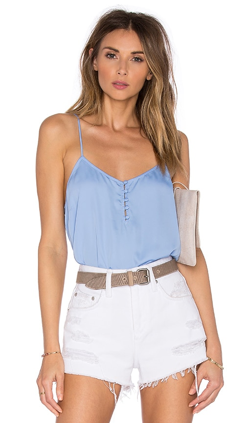 L'Academie The Button Cami Blouse in Blue