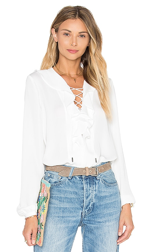 L'Academie The Ruffle Boho Blouse in White