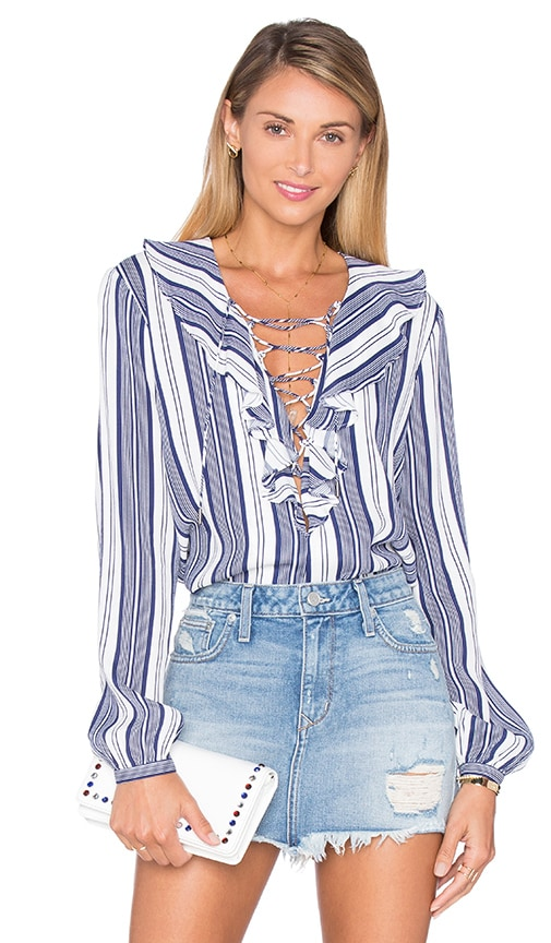 L'Academie The Ruffle Boho Blouse in Navy