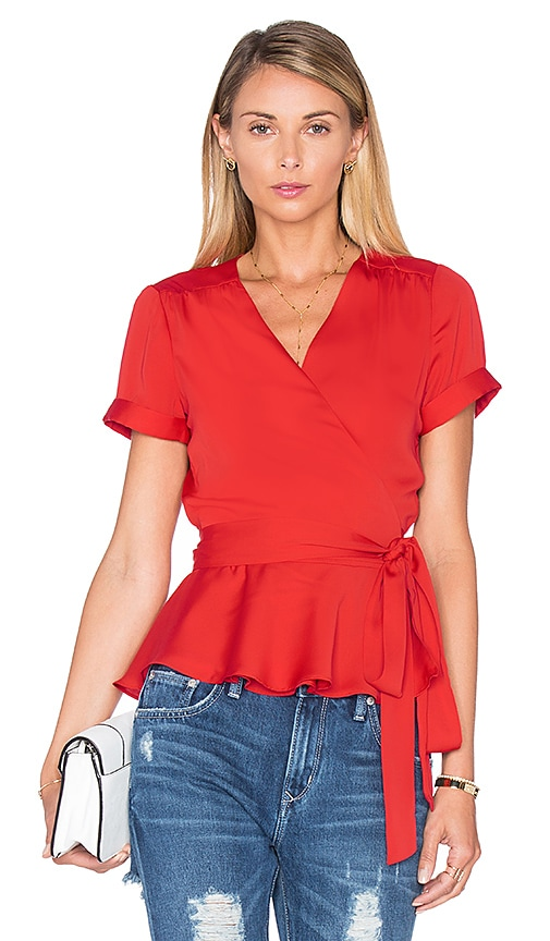 L'Academie The Retro Wrap Blouse in Red