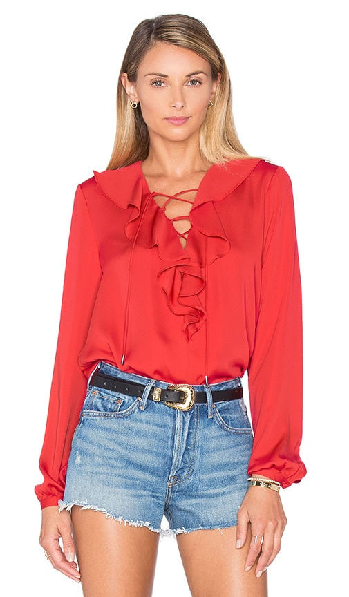 L'Academie The Ruffle Boho Blouse in Red