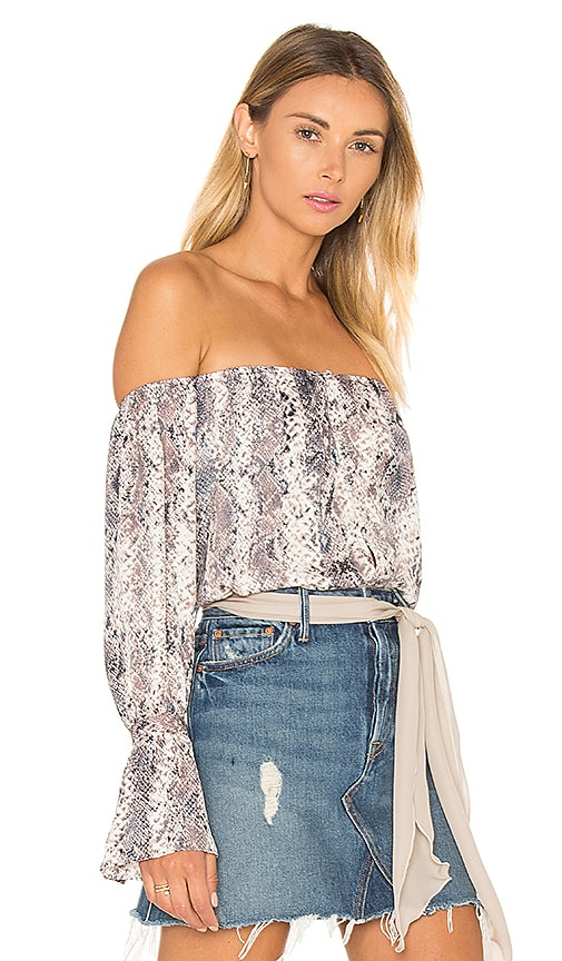 L'Academie The Off Shoulder Blouse in Gray