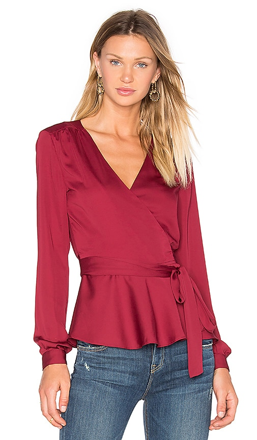 L'Academie The Long Sleeve Wrap Blouse in Cabernet