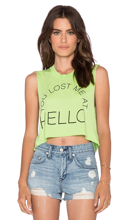 Local Celebrity Lost Me at Hello Crop Muscle Tank in Neon Green