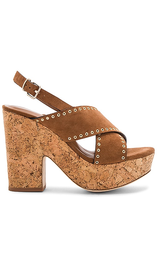 Lola Cruz Cross Front Platform in Brown