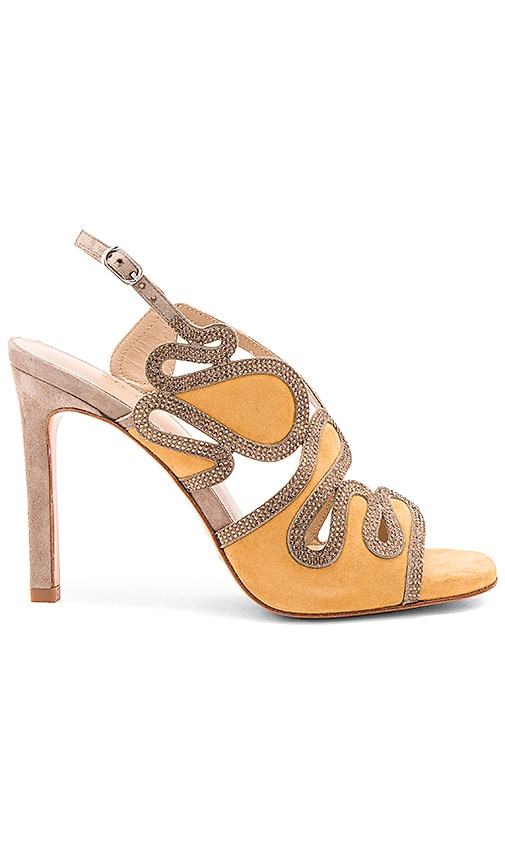 Lola Cruz Cut Out Heel in Yellow