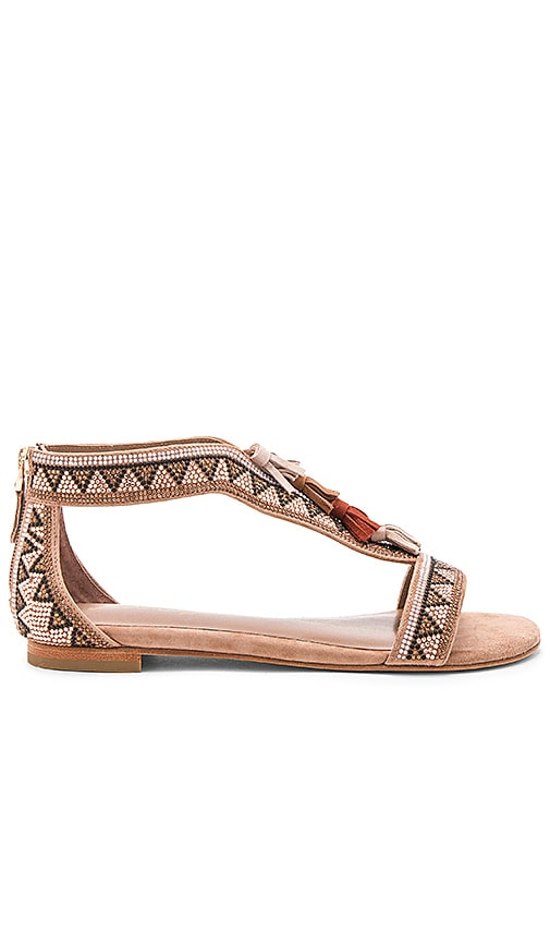 Lola Cruz Beaded Sandal in Brown