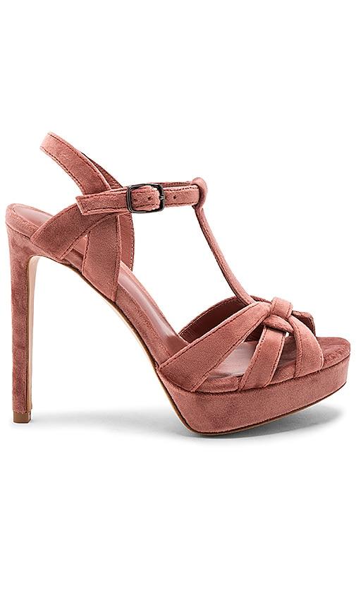 Lola Cruz Velvet T-Strap Heel in Rose