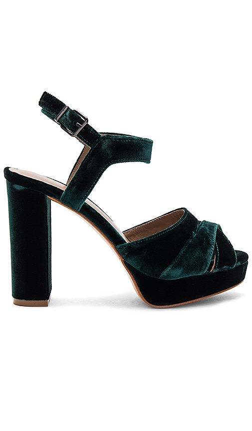 Lola Cruz Velvet Cross Front Platform in Green