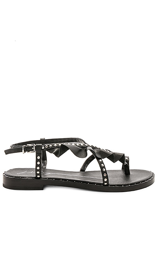 Lola Cruz Strappy Gather Sandal in Black