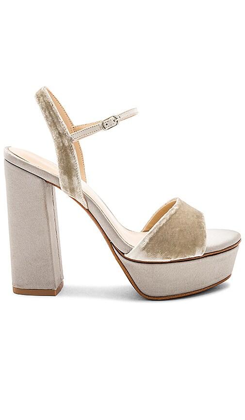 Lola Cruz Ankle Strap Platform Heel in Grey