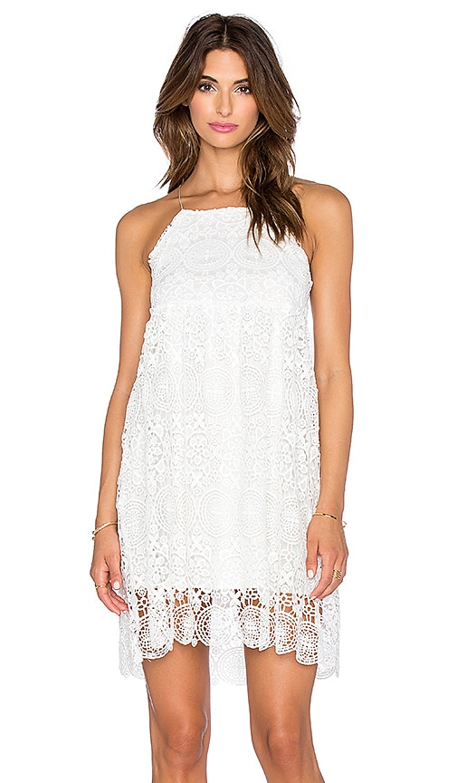 The LDRS Floral Lace Dress in White Lace