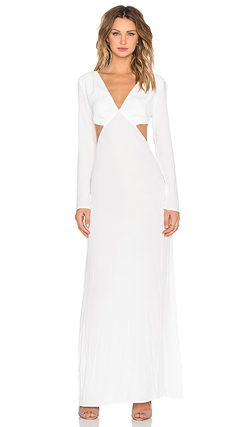 The LDRS Long Sleeve Cutout Maxi Dress in Ivory