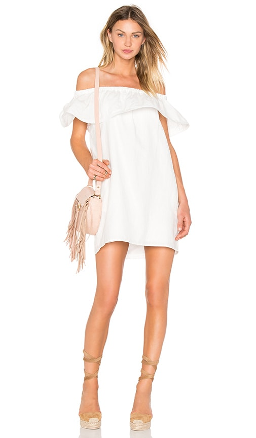 Line & Dot Concorde Ruffle Dress in White