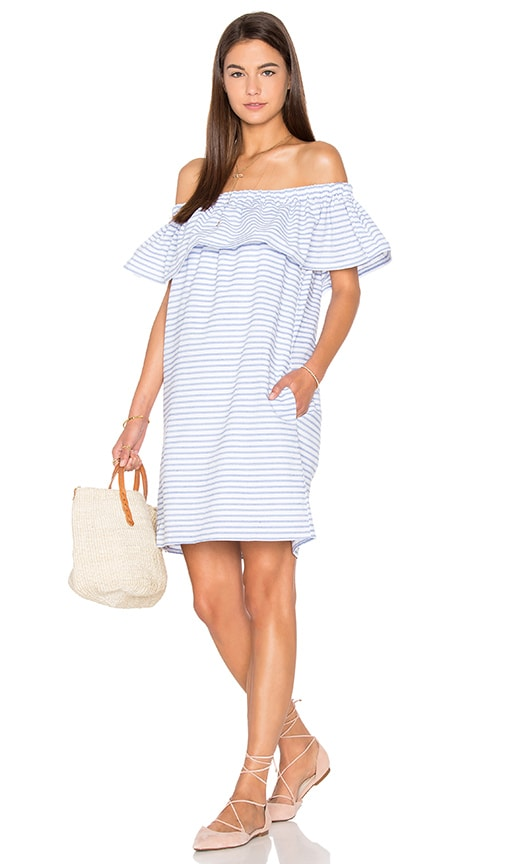 Line & Dot Lea Ruffle Mini Dress in Blue