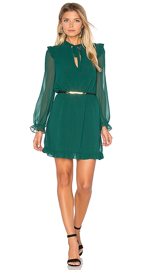 Line & Dot Tautou Frill Dress in Green