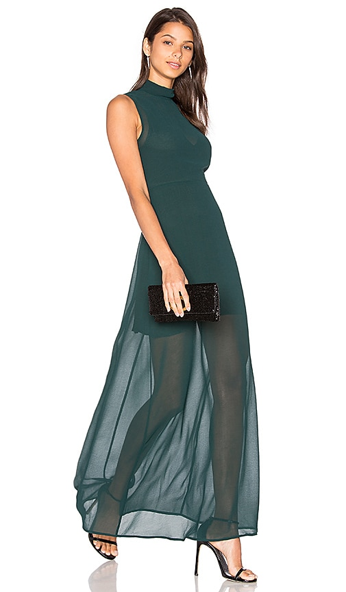 Line & Dot Rima Highneck Maxi Dress in Green