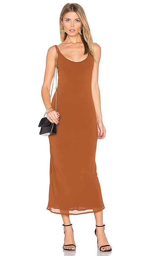 Line & Dot Rima Bias Maxi Dress in Cognac