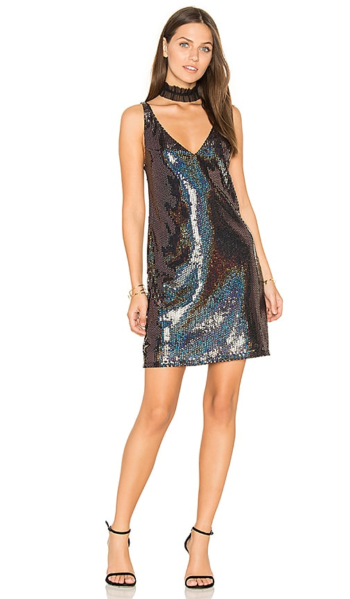 Line & Dot Thea Sequin Mini Dress in Black