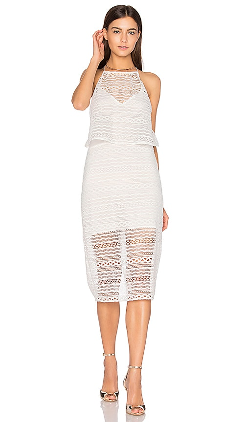Line & Dot Daiguiri Halter Dress in White