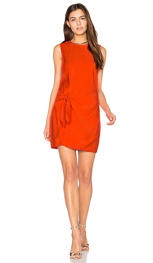 Line & Dot Riel Tied Dress in Orange