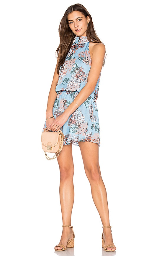 Line & Dot Rudi Halter Dress in Blue