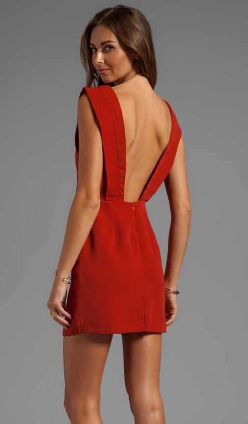 4a3dcc4b8857 Line   Dot Deep V-Back Dress in Moscow Red