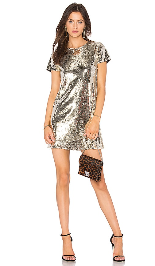 Line & Dot Soleil Sequin Dress in Metallic Gold