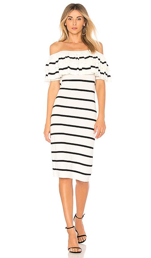 Line & Dot Off the Shoulder Dress in White
