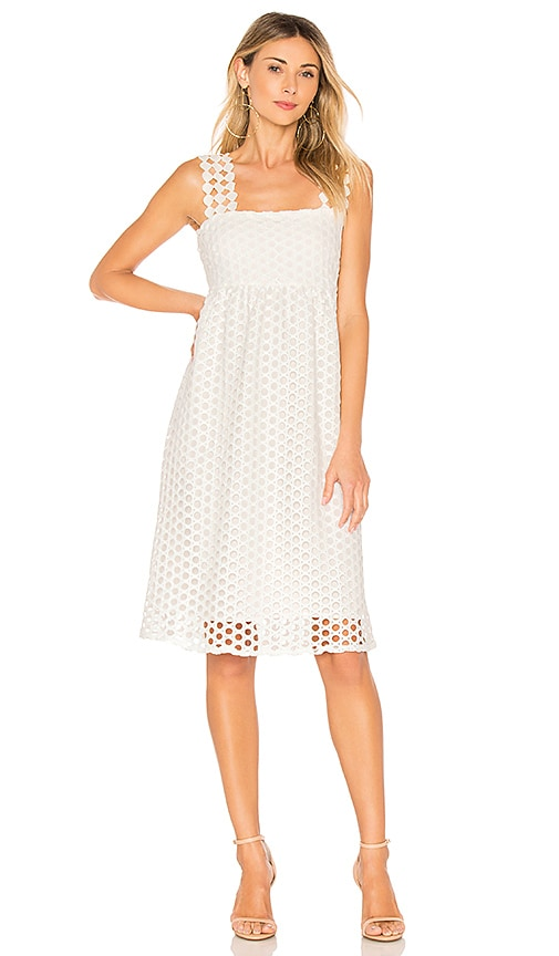 Line & Dot Ranael Dress in White