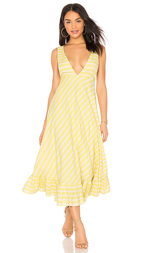 Line & Dot Ali Ruffled Hem Dress in Yellow