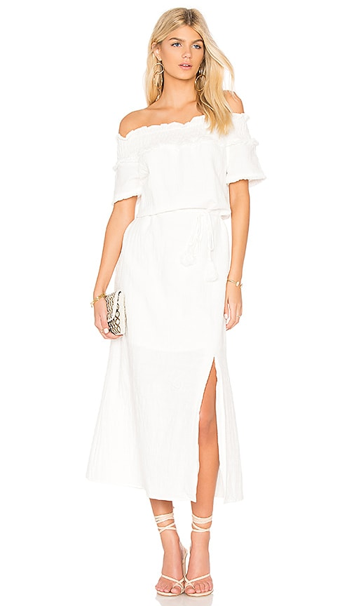Line & Dot Peony Off Shoulder Dress in White