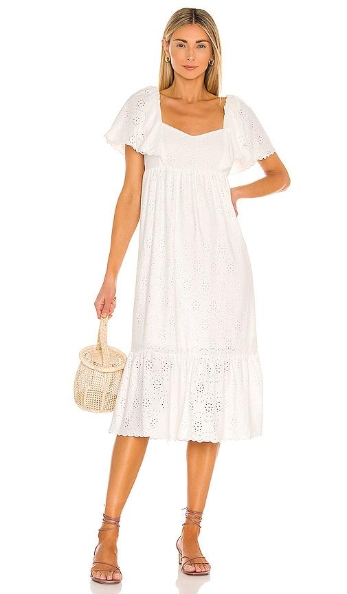 Line & Dot Stephanie Midi Dress In White