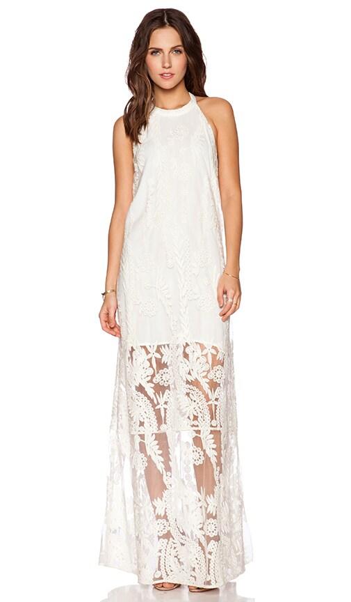 Line & Dot Aura T-Back Maxi Dress in Cream