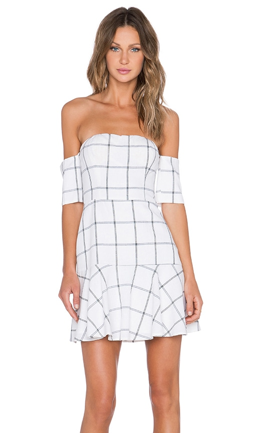 Line & Dot Bisous Off the Shoulder Dress in White