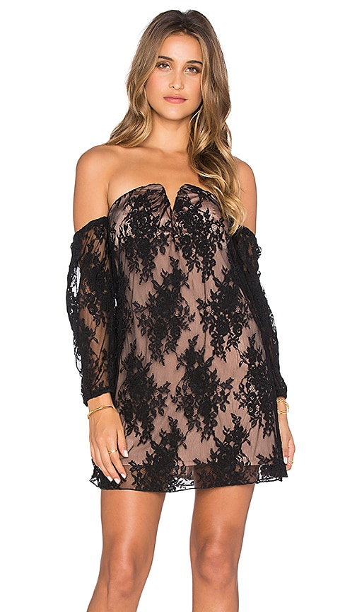Line & Dot Coco Lace Tube Dress in Black