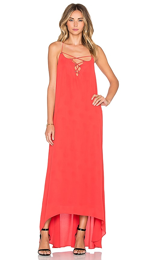 Line & Dot Bastille Lace Up Dress in Orange