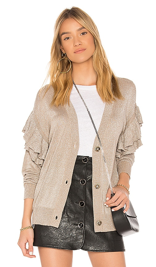 Line & Dot Hull Ruffled Cardigan in Beige