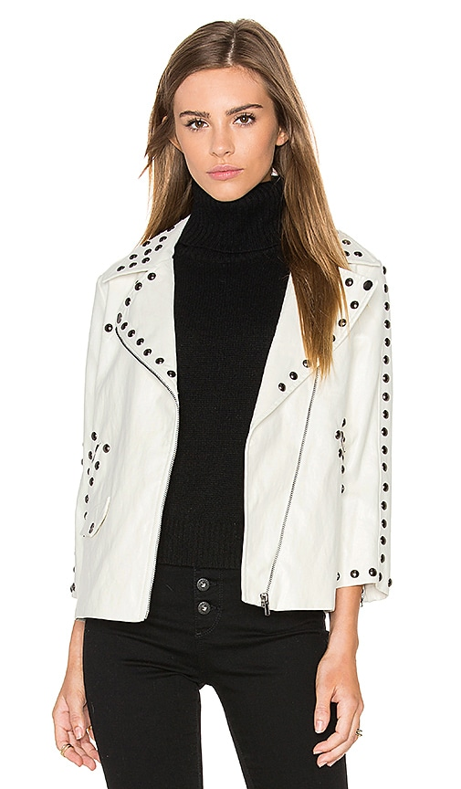 Line & Dot Stud Moto Jacket in White