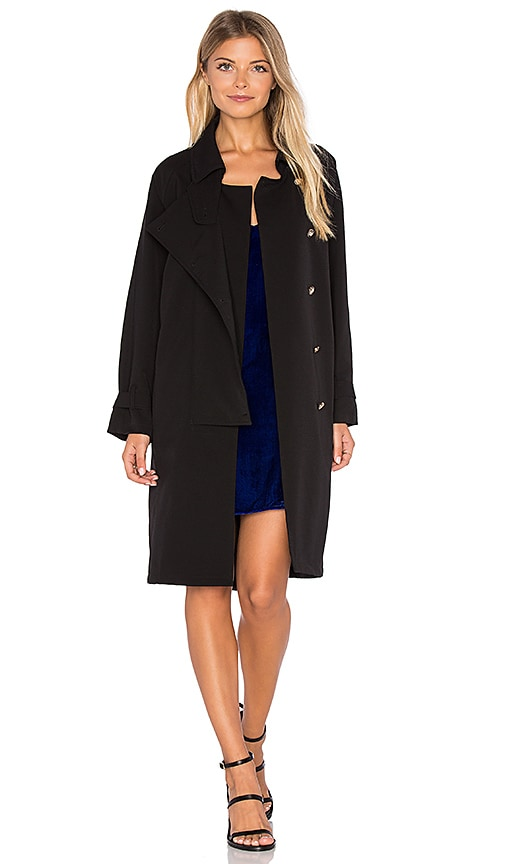 Line & Dot Cecil Button Coat in Black