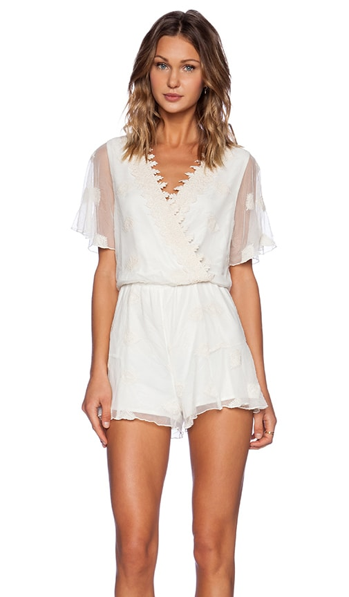Line Amp Dot Embroidery Romper In Cream  REVOLVE