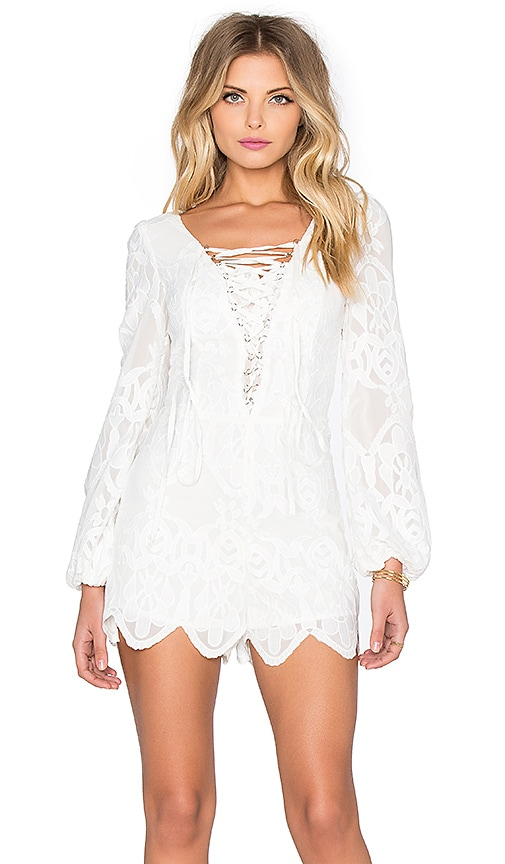 Line & Dot Lulu Lace Romper in White