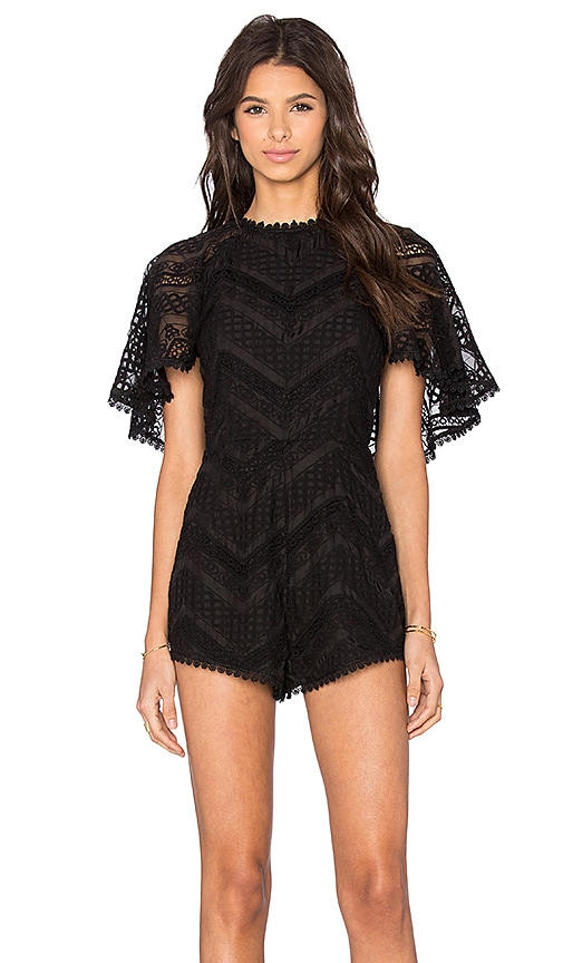 Line & Dot Lyon Lace Romper in Black