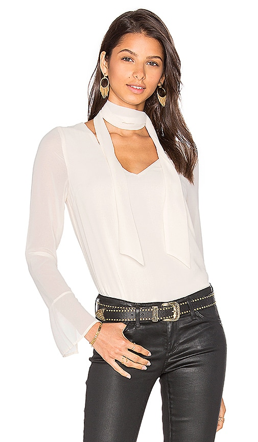 Line & Dot Rima Scarf Blouse in White