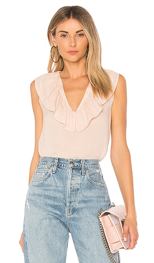 Line & Dot Inez Ruffle Tank in Peach