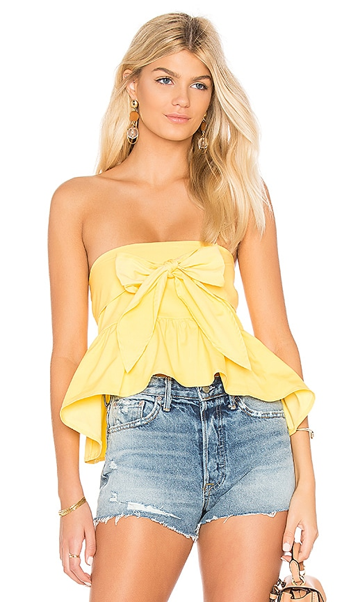 Line & Dot Tigre Tied Top in Yellow